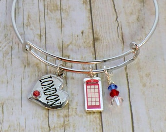 London heart charm stackable bangle, British red phone booth charm bracelet, red blue and white England charm heart with rhinestone bracelet