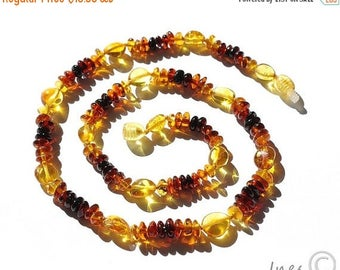 CHRISTMAS SALE Simple Baltic Amber Rainbow Adult Necklace, Genuine Baltic Amber
