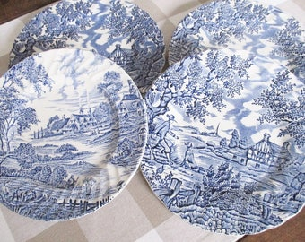 Vintage english transferware tea plates, set of 4 blue and white ironstone plates by Ridgway Potters and Myott, excellent vintage condition