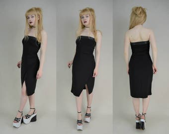 90s Black Faux Leather Band Strapless Boob Tube Mini Dress S