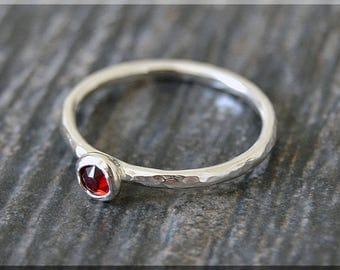 Sterling Silver Swarovski Garnet Ring, January Birthstone Stacking Ring, Mini Swarovski Ring, Garnet Stacking Ring, Silver Birthstone Ring