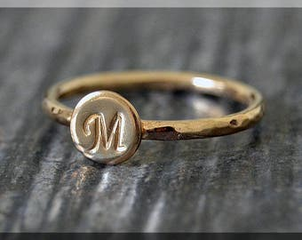 14k Gold Filled Initial Ring, Personalized Gold Ring, Gold Filled Stacking Ring, delicate ring, Hand stamped Initial Ring, Monogram ring,