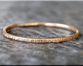 Ultra Thin 14k Gold Filled Twig Ring, Bark Texture Ring, Stacking Ring, Thin Stackable Ring, Woodland Ring, 14k Gold Jewelry, Simple Ring