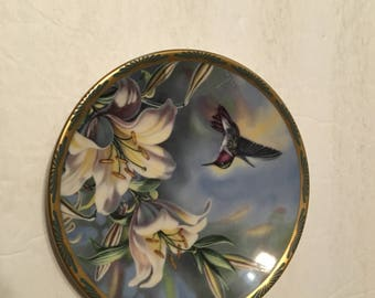 ruby throated hummingbird and lilies collector plate in original box cyndi nelson