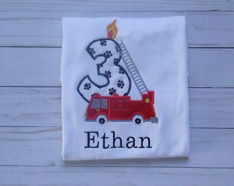 fire truck birthday shirt/ fire engine birthday number shirt/ personalized fire engine shirt