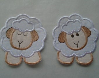 Pair of Barnyard lambs embroidered iron on or sew on  applique  patch