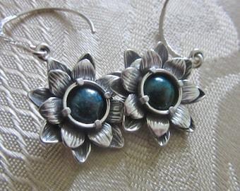 Silver Crysocolla earrings Double Flower Set
