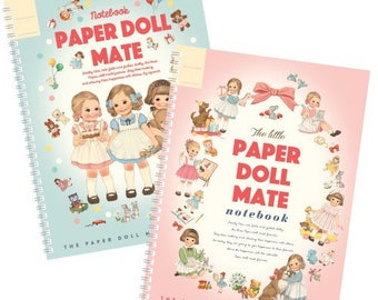 2 Paper Doll Mate ring notebooks, made in Korea, cute notebook, scrapbooking