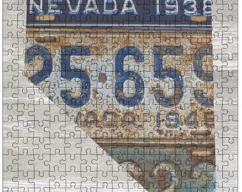 Nevada Jigsaw Puzzle | Vintage License Plate Art | State Outline | Fun Puzzle