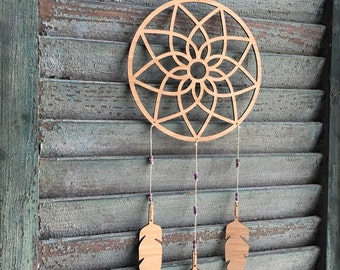 dream catcher Mobile - feather mobile - modern mobile - wood feathers - vegan - purple