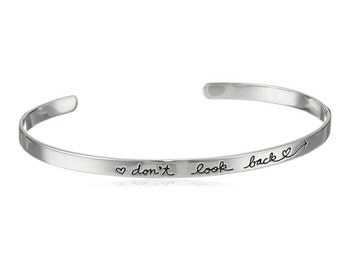 Silver DON'T LOOK BACK Hearts hand Stamped Polished bangle bracelet cuff motivational inspirational gift for her