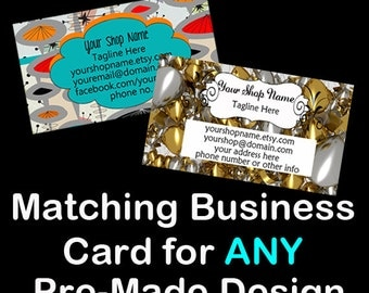 MATCHING BUSINESS CARD Design for any Pre-Made Banner,Business Cards,Custom Design,Pre-Made Business Card,Etsy Large Banner
