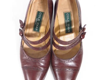 Vtg 20s Style Leather Shoes - Cole Haan Edwardian Style 30s Style Mary Jane Pumps
