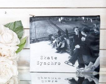 Skate Synchro Figure Skating Cosmetic Bag Gift for Synchronized Skaters Makeup Case