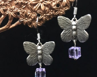Butterfly Earrings with Lavender Crystals