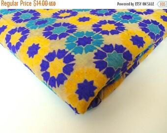 ON SALE Yellow purple graphic flowers India silk brocade fabric nr 164 fat quarter