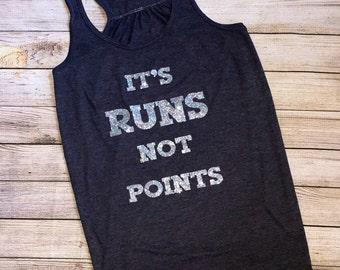 It's runs not points, funny baseball shirt, funny softball shirt