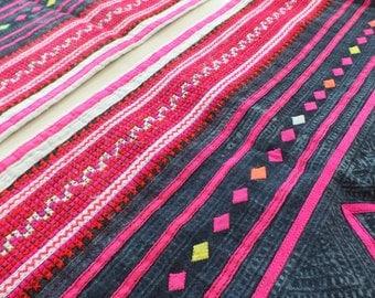 Handwoven Hmong  hemp and cotton, Vintage fabric Indigo cross stitch textiles and fabrics- Table runner,