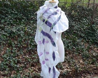 White felted scarf, Nuno felted wool scarf, Felted merino wool shawl, Wet felted italian silk bridal shawl, Wedding lightweight bridal wrap