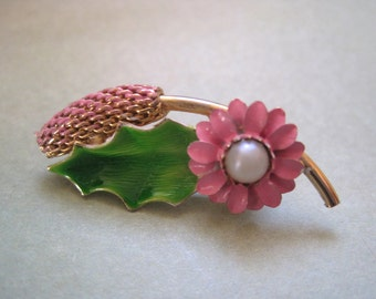 Vintage Flower Pin Pink and Green with Faux Pearl in Gold Tone Pussy Willow Lapel Pin
