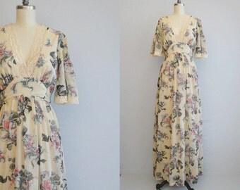 Vintage 1970s Maxi Dress / 70s Long Sheer Floral Cream Lace Boho Festival Prom Dress