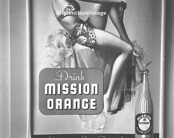digital photo of advertising  of Mission Orange limonade USA 1939 year, pin up style