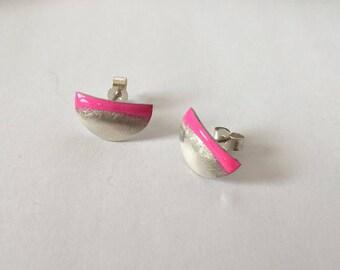 Silver Half Round Neon Pink Enamel Stud Earrings