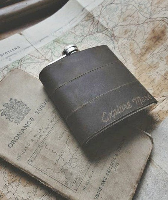 Engraved Hip Flask, custom leather flask, personalised wedding gift groomsmen hip flask travel companion camping hip flask fathers day gift