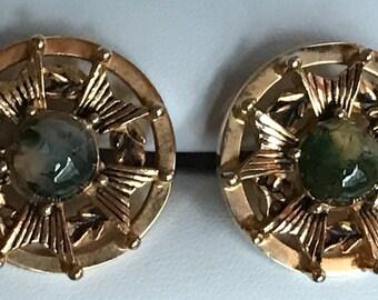 Original Vintage SWANK Jadeite Marble Cabochon Coat of Arms Cufflinks