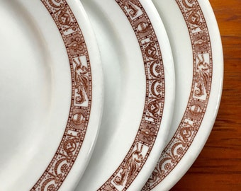 Dinner Plate, Brown Transferware Griffins and Urns, Vintage Restaurant Ware by Shenango China ca. 1930s