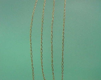 """Estate Vintage 14k yellow gold link  style tiny chain  necklace 19"""""""