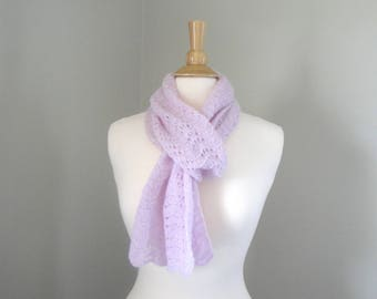 Hand Knit Cashmere Scarf, Pale Lilac, Extra Long, Lace Lacy Wrap Scarf, Luxury Natural Fiber, Orchid Pink