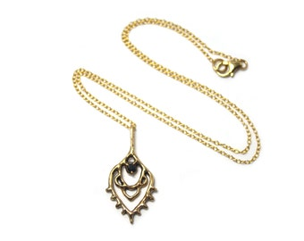 Ancient Bronze Bohemian Inspired Pendant with Black CZ Set in Place 19 Inches / Gold Filled Chain / Lost Wax Casting / Je T'Aimee Jewelry