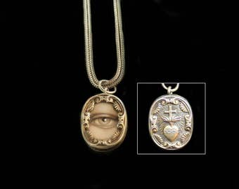 Sandra Hendler  Lover's Eye Miniature Painting  in TINY Gorgeous Gilded  Antique Silver Radiant Heart Ex Voto Locket Reliquary Pendant