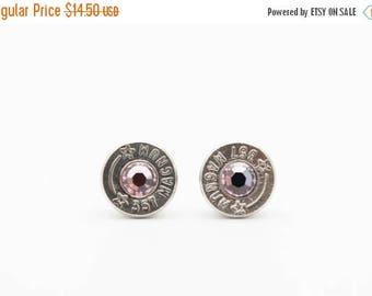 30% OFF SALE Bullet Earrings . 357 Magnum Nickel Plated Brass  . June Light Amethyst
