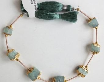 "Gold Leaf Dipped Edge Aquamarine Crystal Beads ~ 8"" Strand #1"