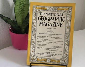 Vintage Magazine, February 1929, National Geographic, free shipping US & Canada