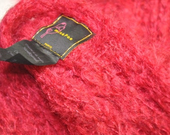Vintage Handknit Mina Poe French Mohair/Wool Cranberry Long Scarf