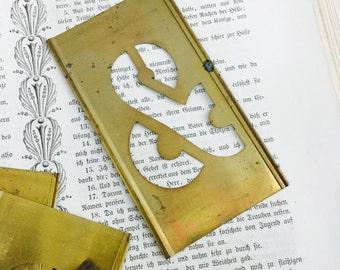 Large Antique Brass stencil Ampersand - Vintage brass ampersand - industrial metal ampersand - reese interlocking metal stencil
