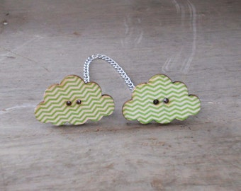 Sweater Pins, Cloud Sweater Pins, Green Clouds, Cloud Collar Pins, Green Cloud Pins, One of a Kind