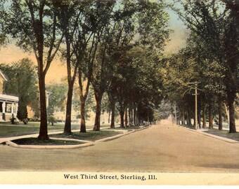 Vintage Postcard....Illinois, Sterling…West Third Street...Unused..no. IL0007