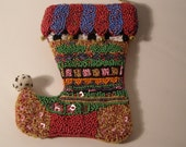 Mackenzie-Child Hand Crafted Beaded Christmas Stocking Ornament. Delight is in the hand sewn beaded detail with Bells and Pom Pom. Retired.