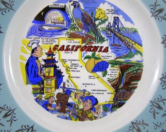Pre-Disneyland 1950's Souvenir California Hand Painted Plate. Vibrant colors. Retro Vibe California. Gold Details. California State Sites.