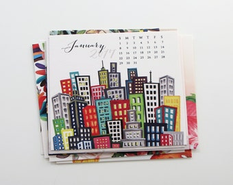 August 2017 - January 2018 Modern Mix Calendar, Pages Only