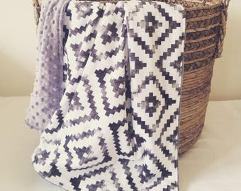 Distressed Aztec Minky Blanket    Double Minky Baby Blanket    Grey & White Aztec Blanket    Minky Stroller Blanket    Geometric Blanket