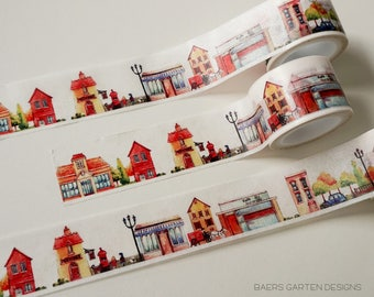Washi Tape Houses - Watercolor Washi Tape Houses Street City