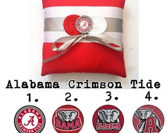 Alabama Crimson Tide Wedding Ring Pillow- Your choice of embellishment.(6x6 inches)
