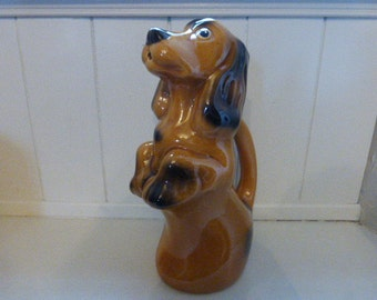 Dog Water Pitcher French Majolica Dachshund Daxon Water Jug