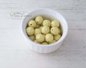 20mm Resin Faceted Beads - lemon - chunky necklace beads
