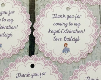 PRINCESS SOPHIA INSPIRED Baby Shower or Birthday Favor Tags or Stickers 12 {One Dozen} - Party Packs Available